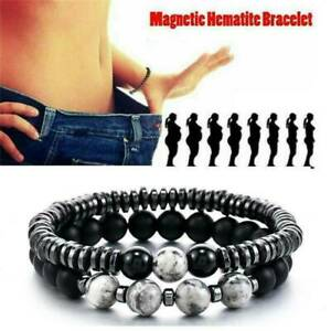 Natural-Hematite-Stone-Bead-Stretch-Bracelet-Healing-Magnetic-Therapy-WeightLoss