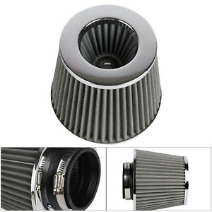 Universal-Car-Air-Filter-Induction-Kit-Sports-Car-Cone-Chrome-Finish-New