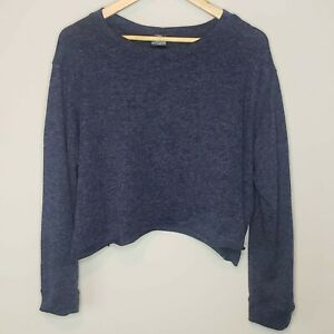 Agnes-amp-Dora-Sweater-Blue-Pullover-Cropped-XL-Long-Sleeve-Top-Scoop-Neck