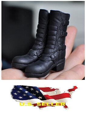 ❶❶1//6 kumik shoes Black Widow Catwoman women black high heeled boots US seller❶❶