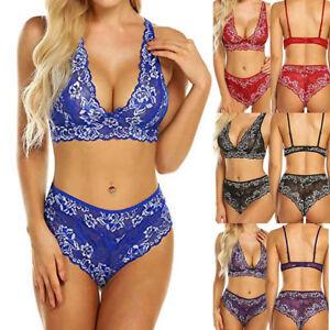 2b84f07be3 Women Lingerie Lace Bra Bralette and Panty Set Deep V Babydoll ...