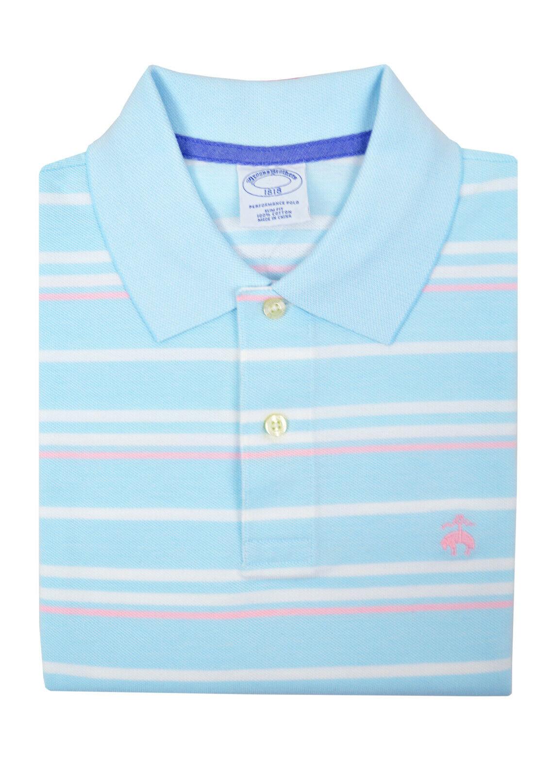 Brooks Bredhers Mens Light bluee Pink Striped Slim Fit Polo Shirt Medium M 3103-7