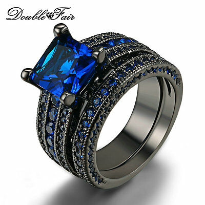 Princess Cut Blue Spinel Wedding Rings Set Black Gold Rings Jewelry For Women