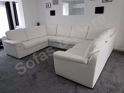 Amy U Shape Corner Sofa Faux Leather Living Room Suite Black Brown White Cream Ebay