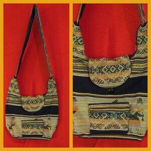 traditionelle Shopper Tasche Peru Inkamuster Umhängetasche Ethno Folklore Natur