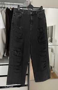 Nice Asos Design High Rise Washed Black Relaxed Dad Jeans With Rips 36/32