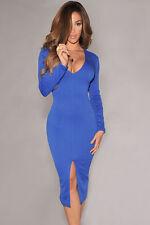 Blue Long Sleeve V Neckline Clubwear Party Slim Midi  Dress One S10-12