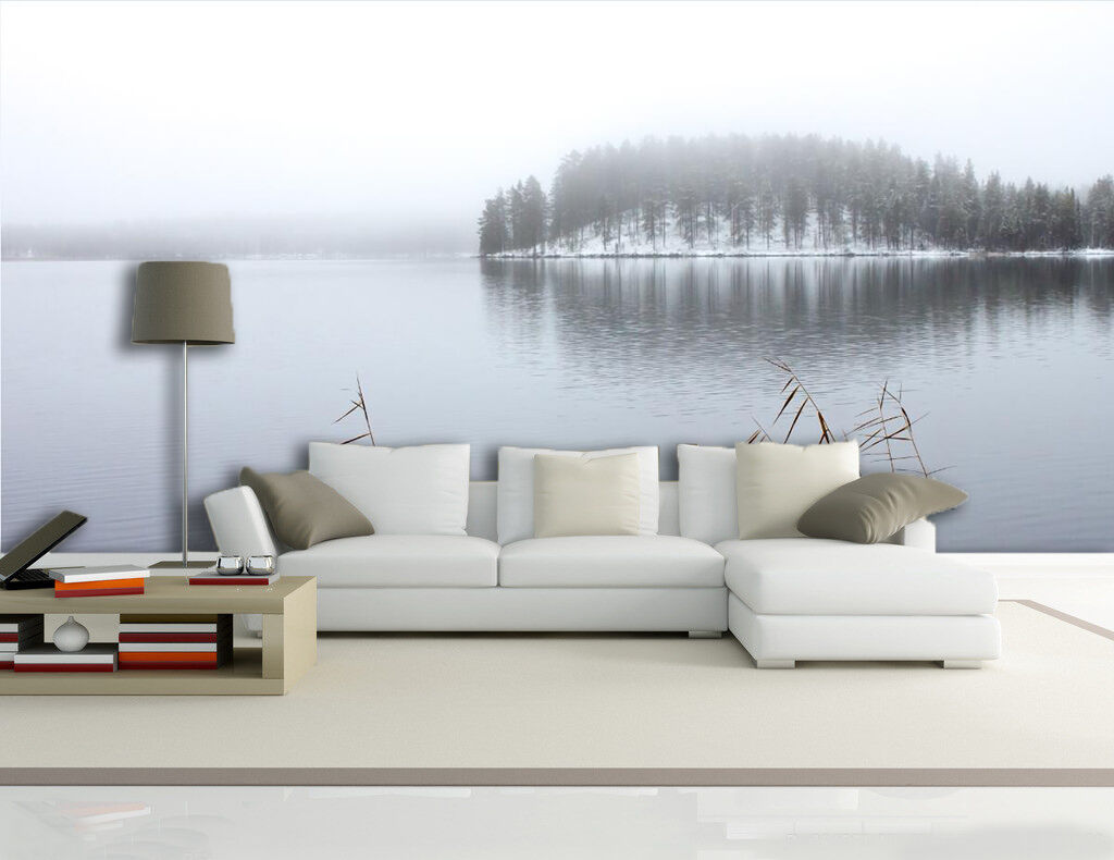 3D Quiet Lake Snow Forest 01 Paper Wall Print Wall Decal Wall Deco Indoor Murals