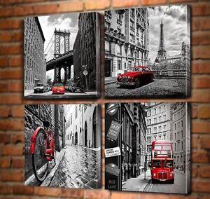 Framed Black Amp White New York London Italy Paris Canvas