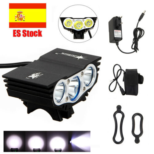 Luces Bicicleta XML T6 LED 15000Lm Frontal Foco Cabeza Bicicleta Luz Linterna ES
