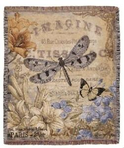 New-Dragonfly-Butterfly-Among-Flowers-Imagine-Afghan-Tapestry-Throw-Blanket-Gift