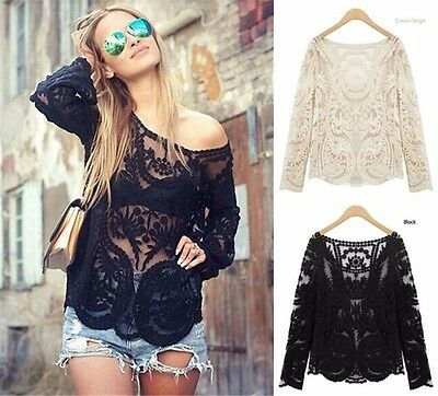 Women Ladies Fashion Floral Long Sleeve Lace Crochet Loose Blouse Tops T Shirt