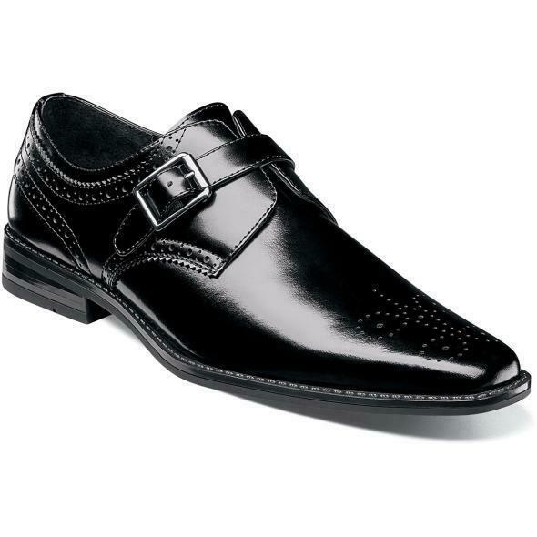 Stacy Adams Men's shoes Kinsley Plain Toe Monk Strap Black 20180-001