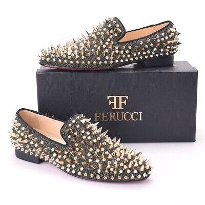 Men FERUCCI Black Gold Crystal Rhinestone Slippers Loafers Flats Wedding Prom