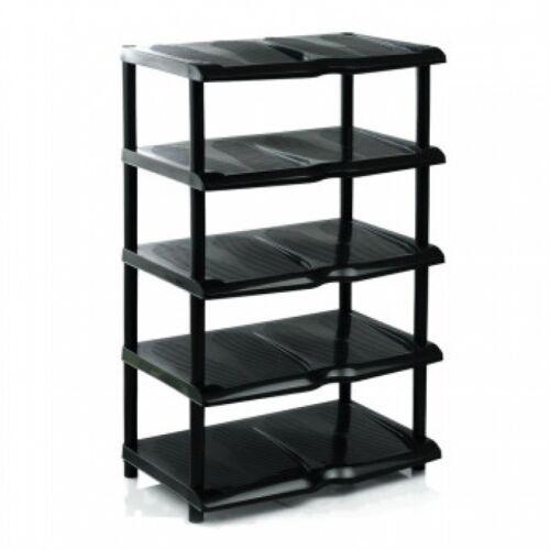 Gros niveau 5 plastique noir-chaussures chaussures de stockage étagère organisateur stand bench