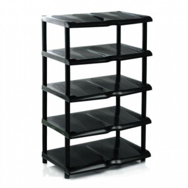 Large 5 Tier Black Plastic Shoe Rack Shoes Storage Shelf Organiser
