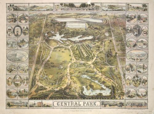 NEW YORK MAP POSTER BIRD/'S EYE VIEW CENTRAL PARK MANHATTAN 1862 JOHN BACHMANN