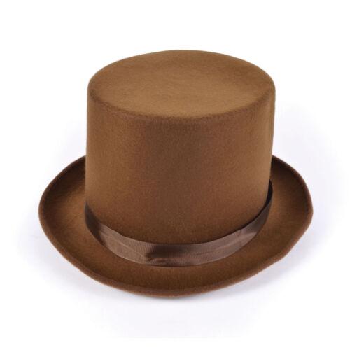 Adulte Marron Laine Feutre Chapeau Haut de Willy Wonka Fancy Dress Accessoire Victorien Neuf