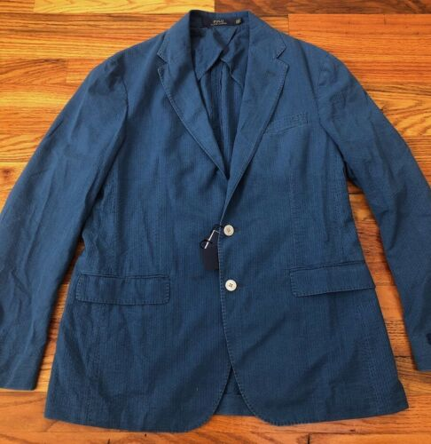 NWT Polo Ralph Lauren Blazer Jacket Sport Coat Blue Indigo Cotton $495 42R RRL