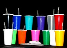 Plastic Drinking Glasses Cups-Lids Straws Mfg USA Lead Free 48 Large 20 Oz