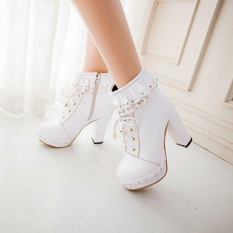 Ladeis Sweet Cute Lolita Lace Up Zip Block High Heels Ankle Boots shoes Platform