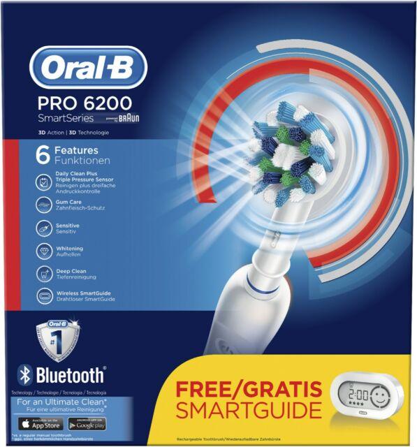 Oral-B PRO 6200 SmartSeries + SmartGuide Elektrische Zahnbürste, weiß