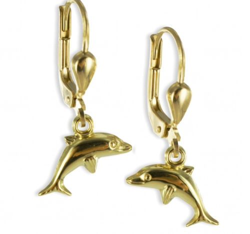 ECHT GOLD *** Kinder Ohrringe Ohrhänger Delfin Delphin