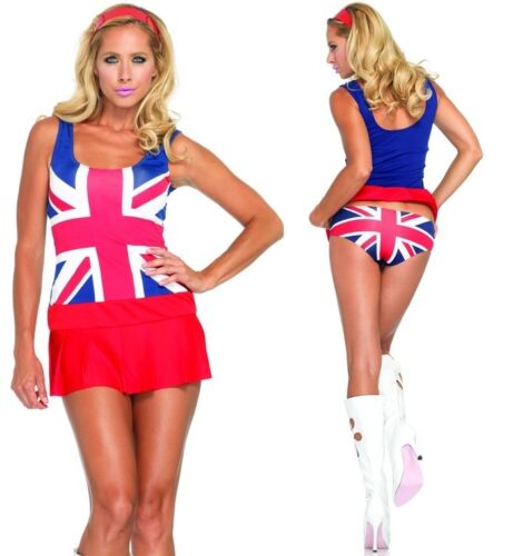 Cheeky Brit Costume Leg Avenue 1990/'s Fancy Dress 6-14 Ginger Spice Girls Flag