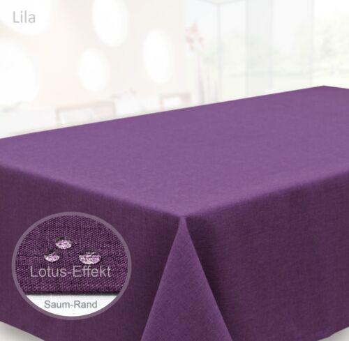 Farbe wählbar Oval 160x220 Tischdecke Leinen Optik Wasserabweisend