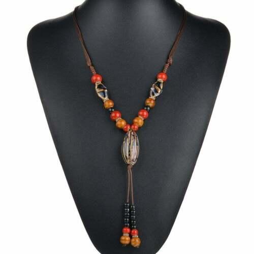 Halskette Keramik Perlen Lange Kette Bunt Bohemian Boho Hippie Ibiza