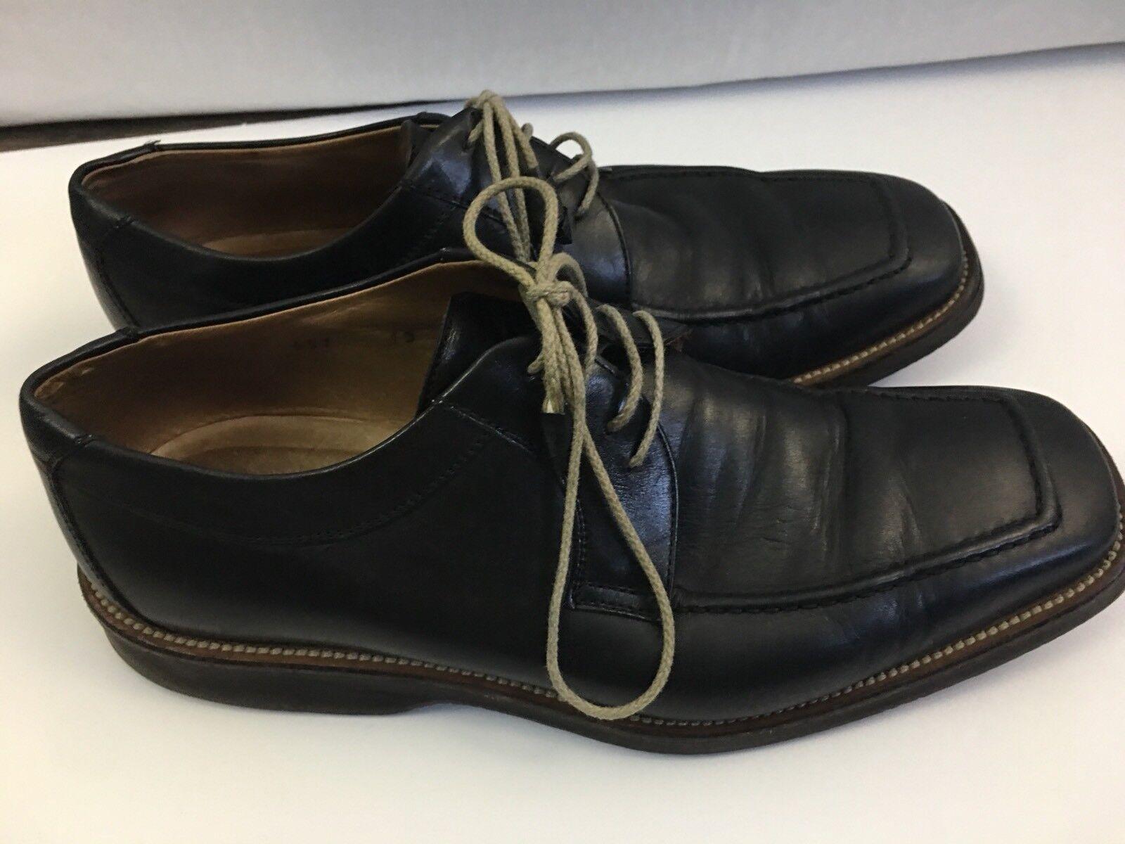Ermenegildo Zegna Mens Dress Schuhe Square Toe Größe 10 schwarz Leather Rubber Soles