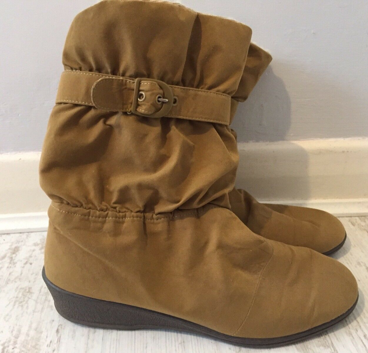 Rohde Sympatex Tan Wool Uk Lined Low Wedge Boots Size Uk Wool 7 5c4a42