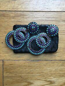 Zoe Coste Clip on Drop Earrings Inlaid with Blue Enamel Art Deco Design