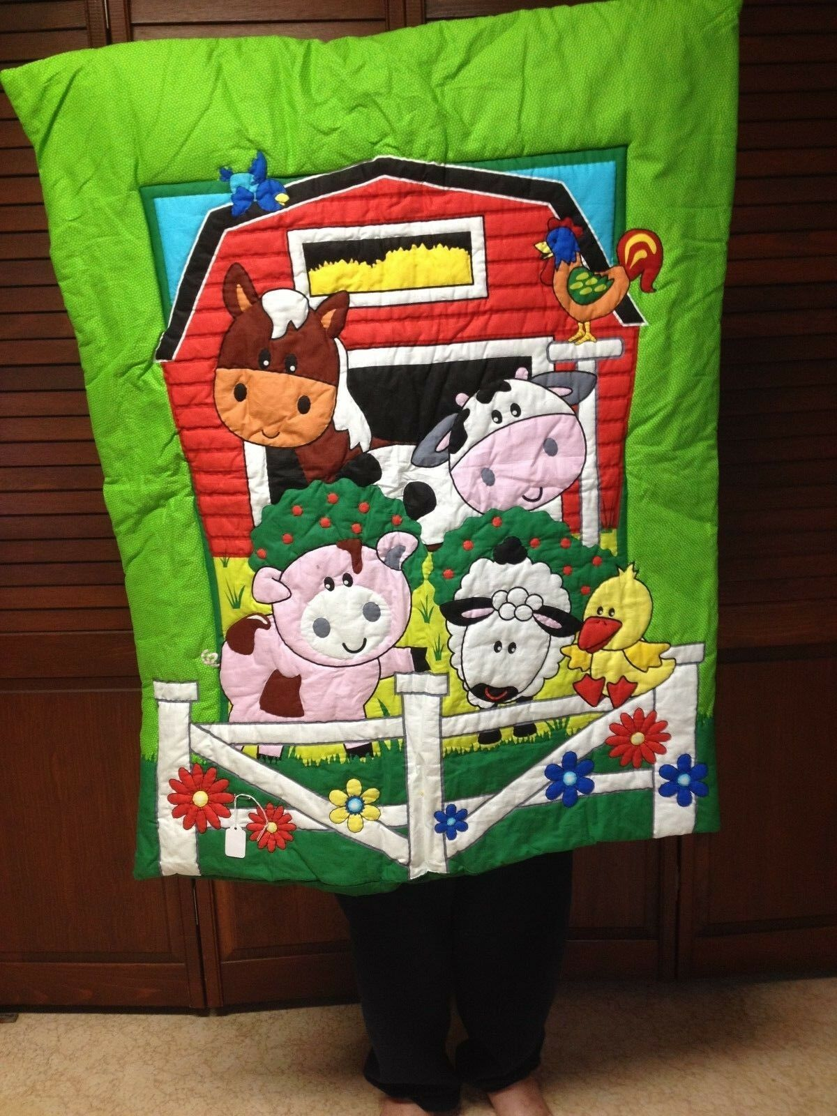 Hand Quilted Barnyard Baby Quilt or Wallhanging, Approx 34