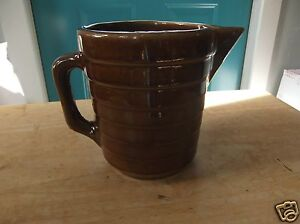 Vintage-USA-Marked-Brown-Horizontal-Ribbed-Art-Pottery-Pitcher-Use-as-Planter
