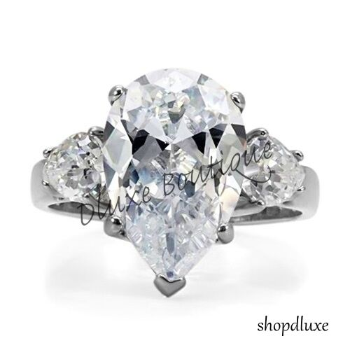 6.65 Ct Pear Shape AAA CZ Stainless Steel Engagement Ring Band Women/'s Size 5-10