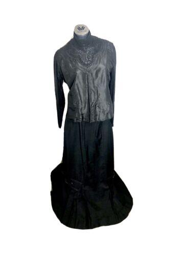 Vintage 1880s 1890s Antique Victorian Black Lace M