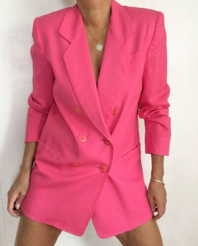 Vintage Double Breasted Hot Pink Linen Blend Blaze