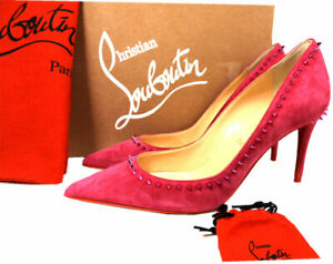 sports shoes 4980f 78b89 Details about Christian Louboutin ANJALINA 85 Spiked Studs Pumps Pink Suede  Heels Shoes 37