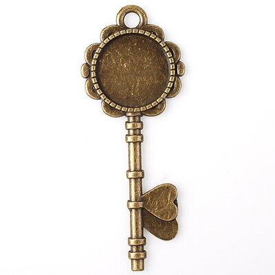 8pcs 144912 Bronze Tone Round Blank Base Flower Heart Key Charms Alloy Pendant