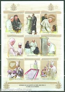 MALI POPE JOHN PAUL II & FIDEL CASTRO SHEET OF NINE IMPERFORATED MINT NH