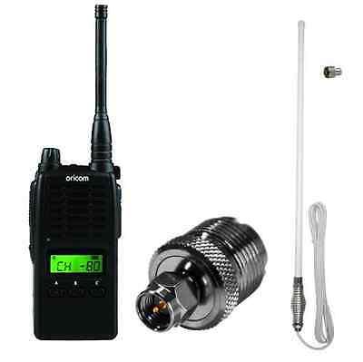 ORICOM UHF5500-1 5 WATT 80 CH HANDHELD UHF RADIO+AXIS CH5T WHITE ANTENNA PACK