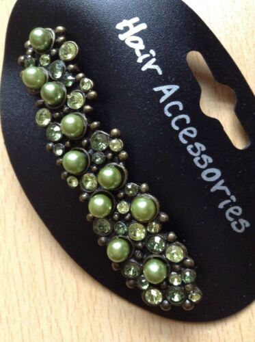 A Beautiful Green Pearl And Diamanté Metal Barrette Hair Clip