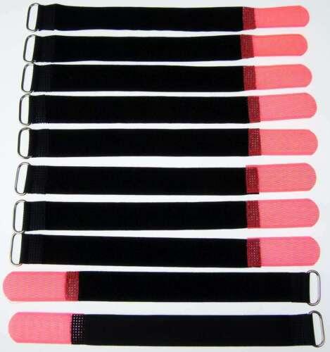 10 x Kabelklettband 20 cm x 20 mm neon rot Klettband Klett Kabel Binder Band Öse