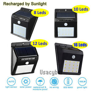 Details About 8 48 Led Solar Power Pir Motion Sensor Wall Light Outdoor Waterproof Garden Lamp