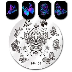 Schmetterling-Stern-Nagel-Stempel-Schablone-Manikuere-Nail-Art-Plate-BP-155-5-5cm