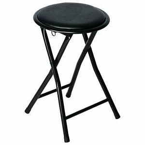 1 X Round Folding Stool Seat in Black Soft Padded Foldable ...