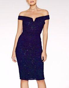 £40 NEW QUIZ Black Velvet Bardot Gold Embroidered Midi Dress 8,10,12,14,16,18,
