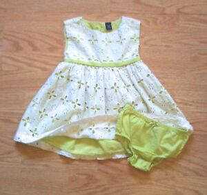 9e399adeb40 Baby Gap White Eyelet Dress Sleeveless With Green Contrast Girls 18 ...