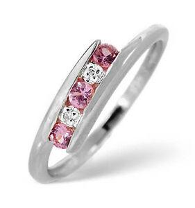 Rosa-Zafiro-y-Anillo-Con-Diamante-Eternidad-Aniversario-Oro-Blanco-Certificado
